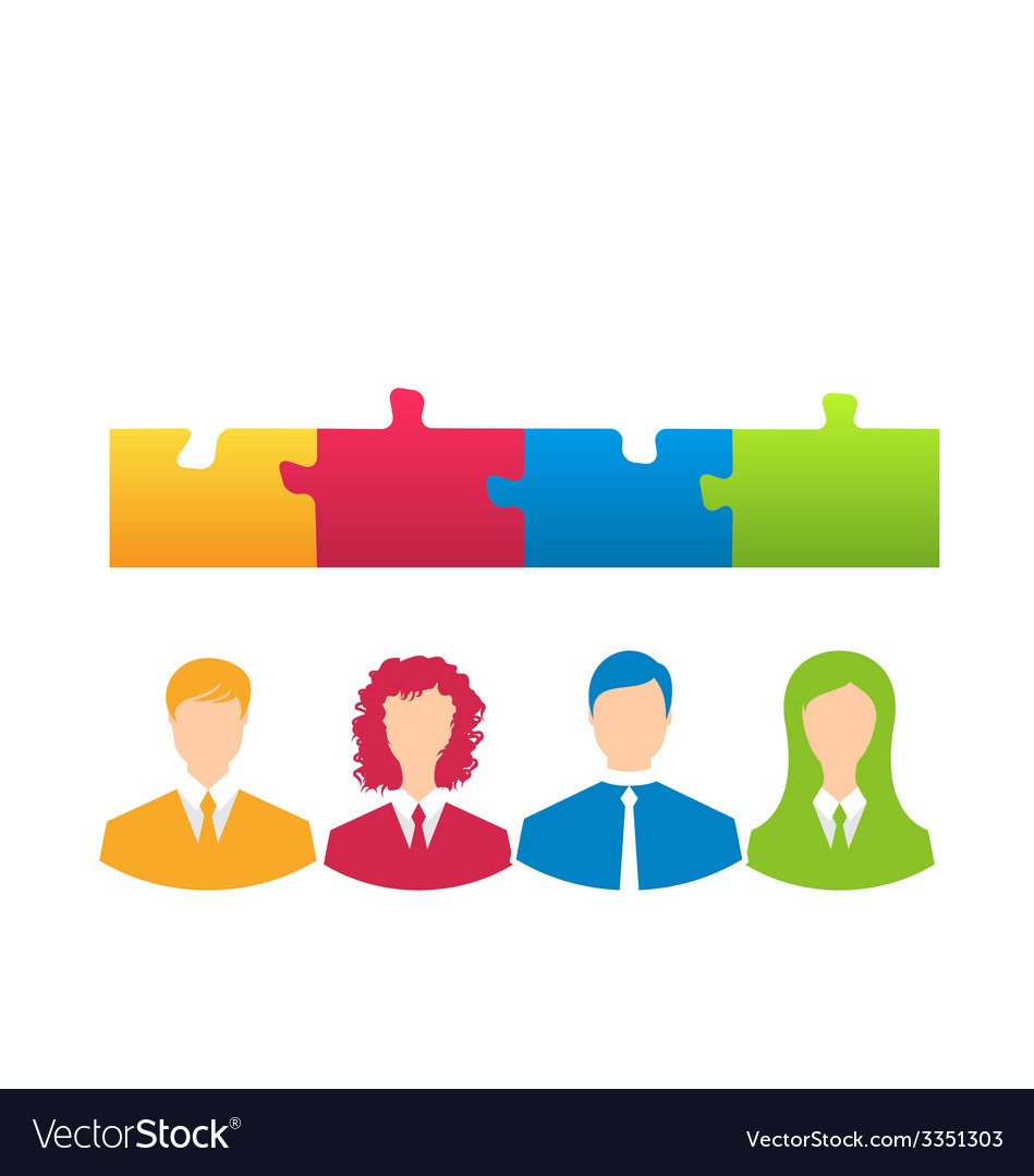 Team of business people with jigsaw puzzle pieces vector | Price: 1 Credit (USD $1)