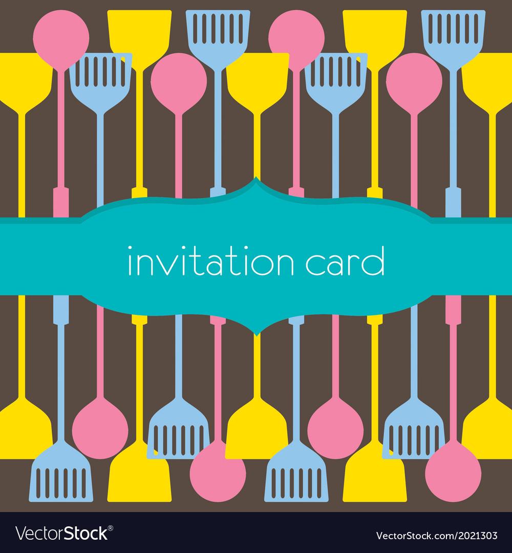 Utensils pattern invitation card vector | Price: 1 Credit (USD $1)