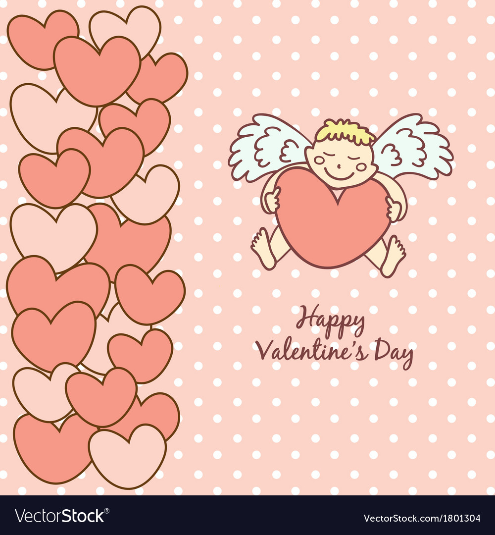 Card happy valentines day cupid with heart vector | Price: 1 Credit (USD $1)