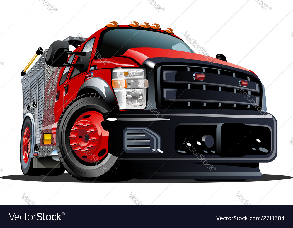 Cartoon fire truck vector | Price: 3 Credit (USD $3)