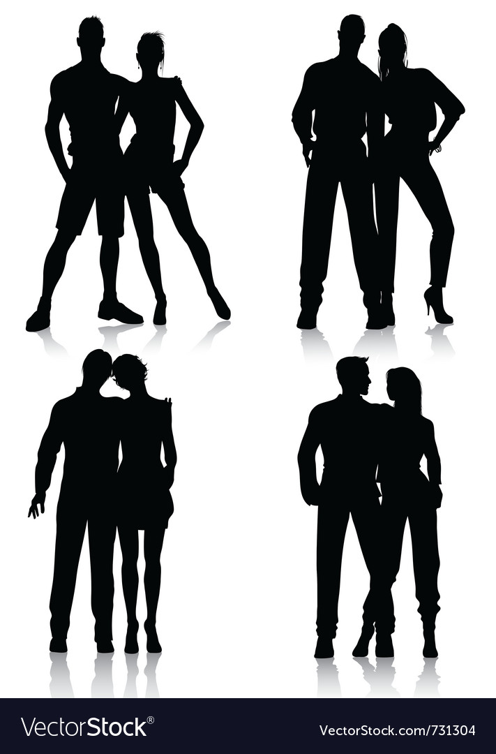 Couple silhouettes vector | Price: 1 Credit (USD $1)