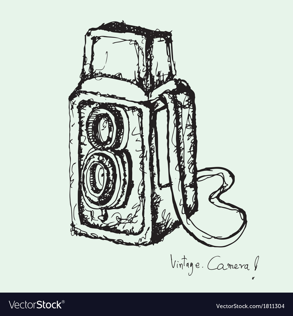 Drawing of vintage camera vector | Price: 1 Credit (USD $1)