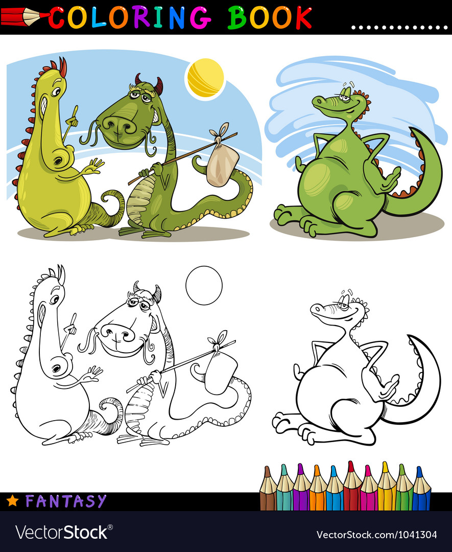 Fantasy dragons for coloring vector | Price: 3 Credit (USD $3)
