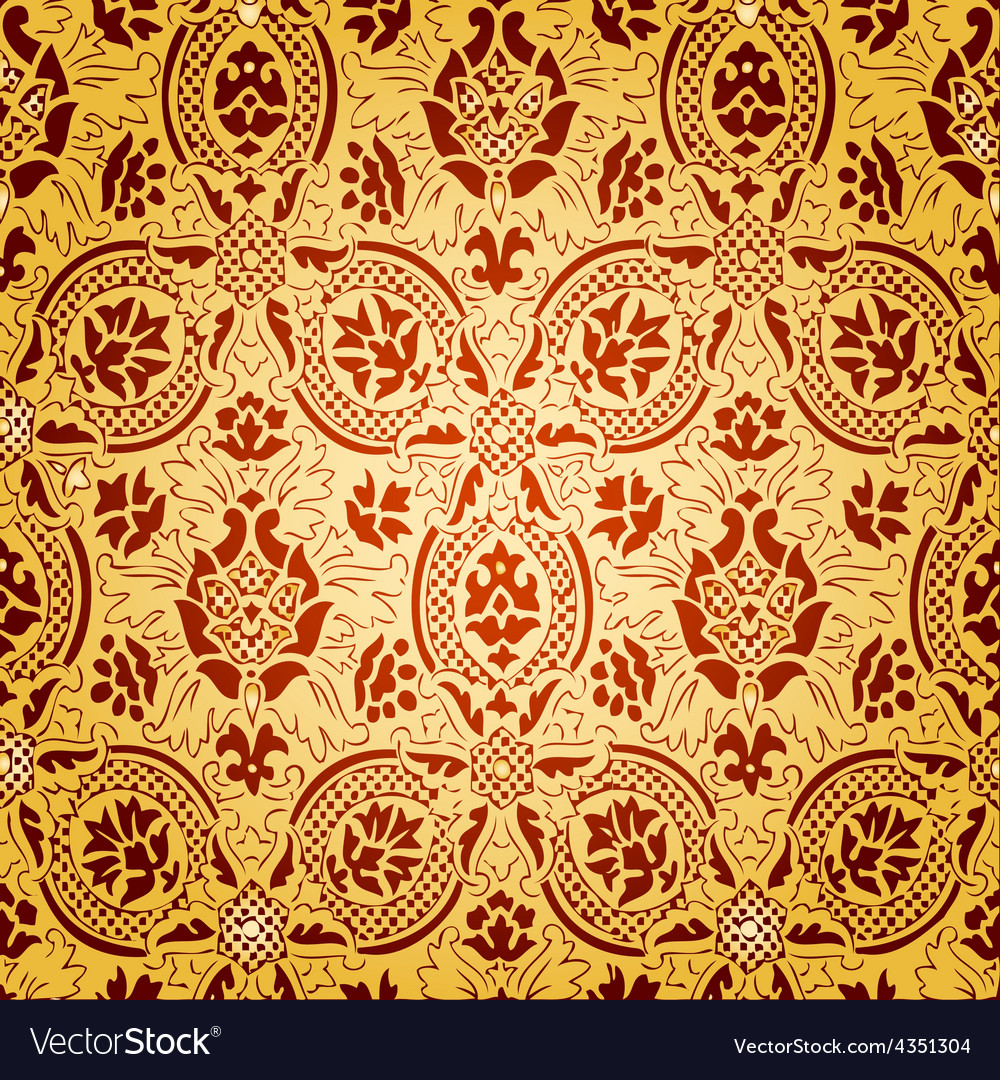 Gold seamless abstract floral pattern vector | Price: 1 Credit (USD $1)