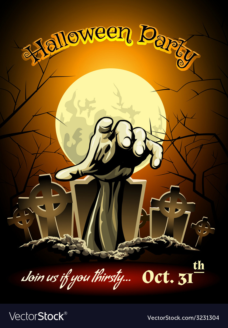 Halloween party invitation with zombie graphic vector | Price: 1 Credit (USD $1)