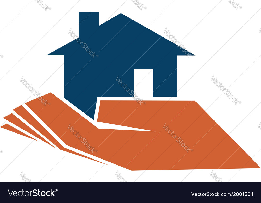 Person holding a house in their hand vector | Price: 1 Credit (USD $1)