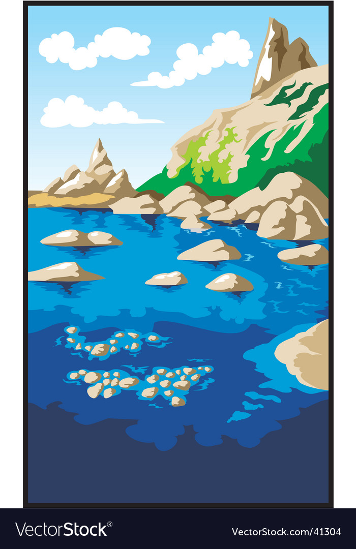 Rocks and sea vector | Price: 1 Credit (USD $1)
