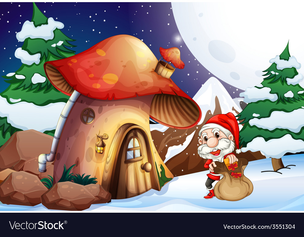 Santa outside the mushroom house vector | Price: 3 Credit (USD $3)