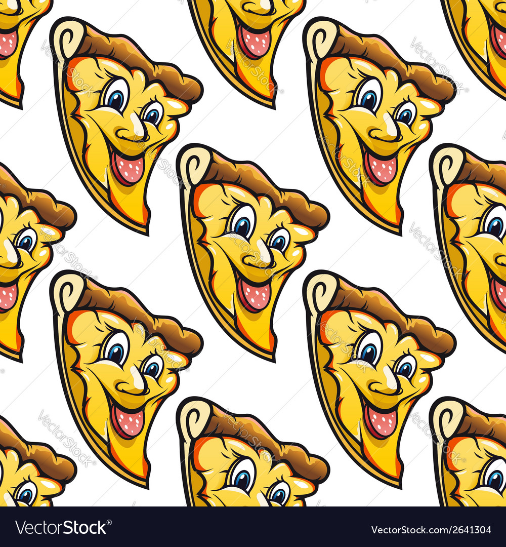 Seamless pattern of cheesy salami cartoon pizza vector | Price: 1 Credit (USD $1)