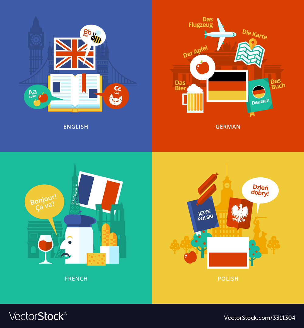 Set of flat design concept icons for foreign vector | Price: 1 Credit (USD $1)