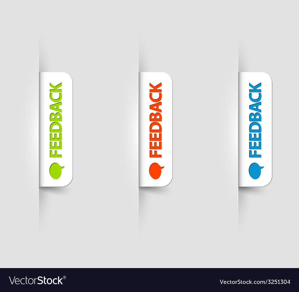 White feedback labels tags on the web page vector | Price: 1 Credit (USD $1)