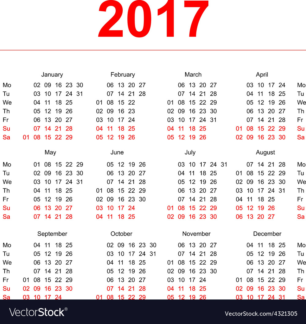 2017 calendar template vertical weeks first day vector | Price: 1 Credit (USD $1)