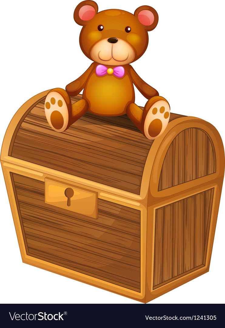A bear at the top of a treasure chest vector | Price: 1 Credit (USD $1)