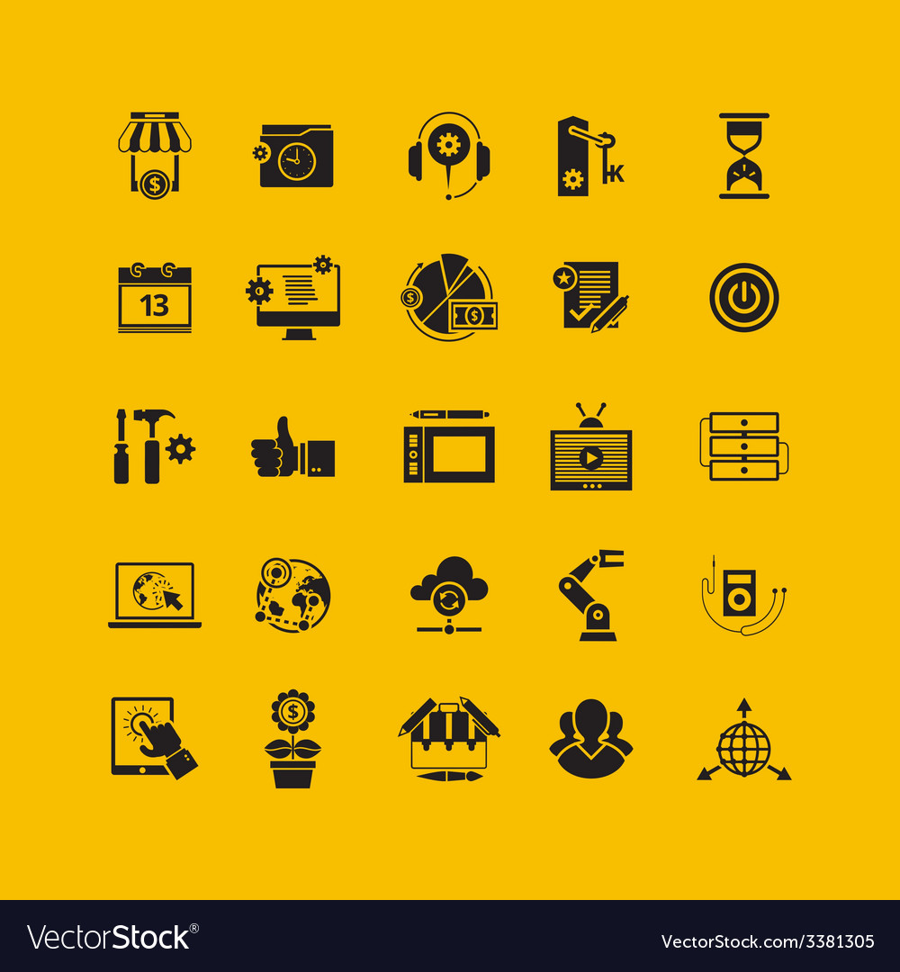 Black flat icons set business object office tools vector | Price: 1 Credit (USD $1)