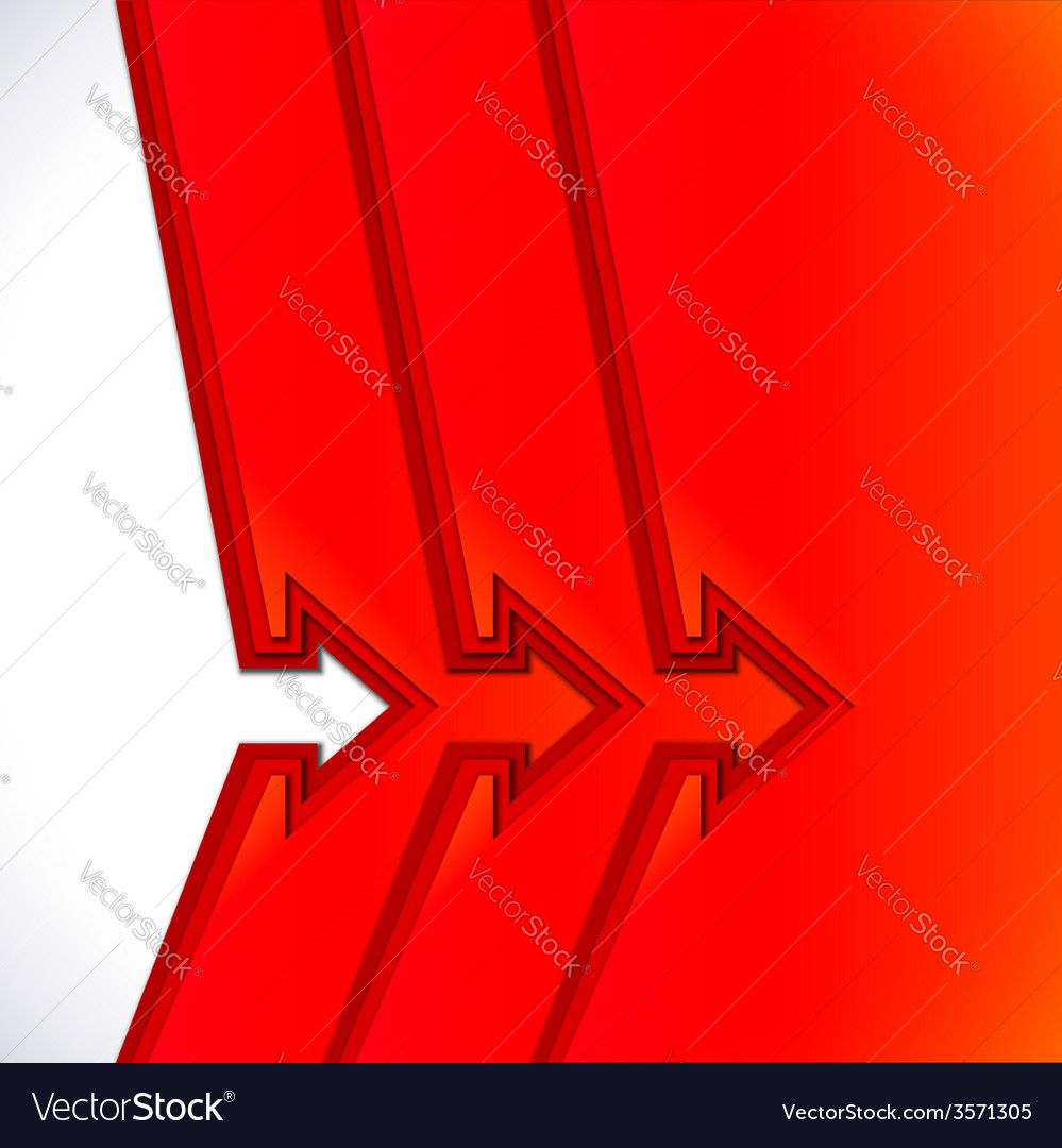 Colorful arrows with red cut paper layers vector | Price: 1 Credit (USD $1)