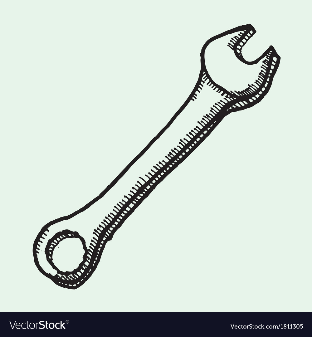 Drawing of wrench vector | Price: 1 Credit (USD $1)