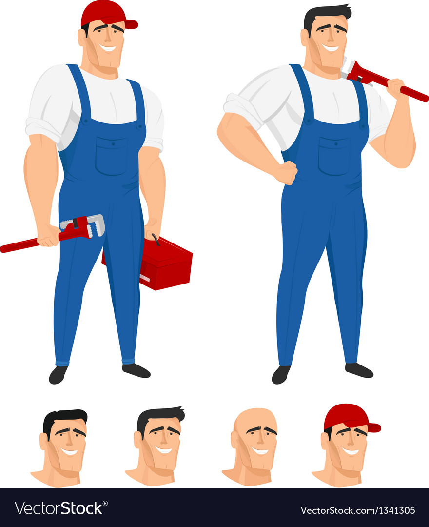 Funny plumber mascot in different poses vector   Price: 1 Credit (USD $1)