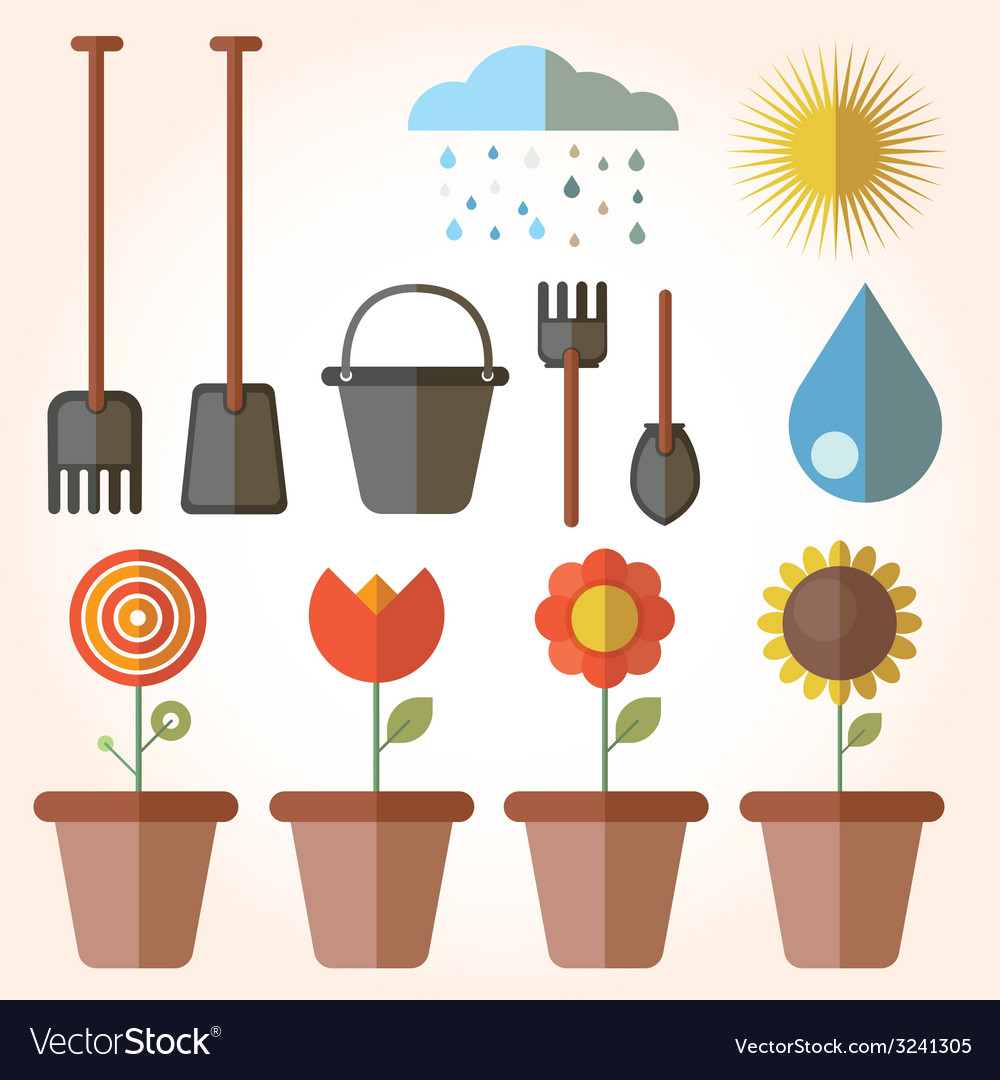 Garden set icons vector | Price: 1 Credit (USD $1)