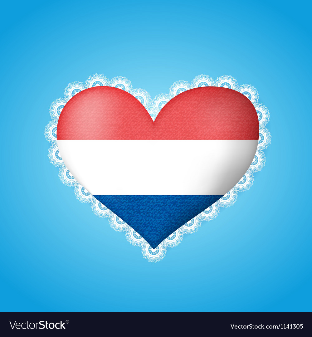 Heart shape flag of holland vector | Price: 1 Credit (USD $1)