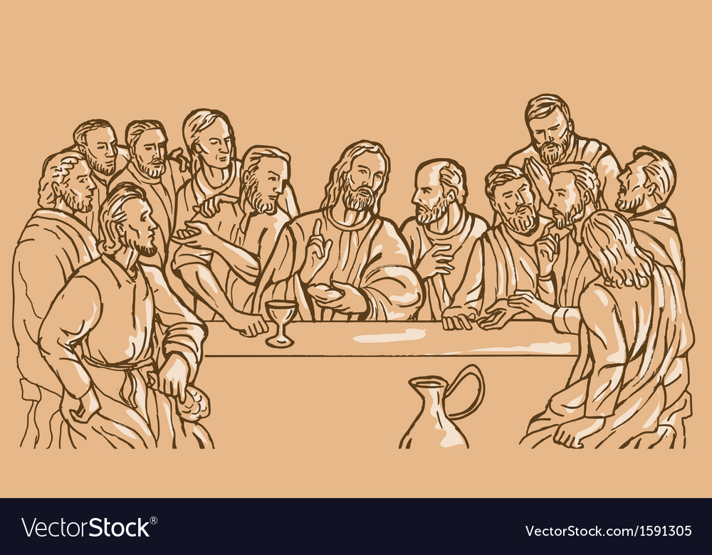 Last supper jesus christ savior disciples apostles vector | Price: 1 Credit (USD $1)