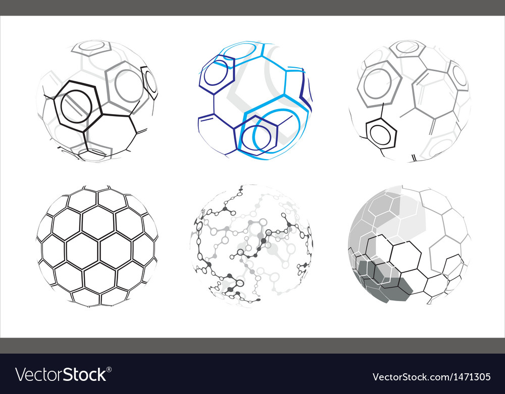 Molecule icons in spheres vector | Price: 1 Credit (USD $1)