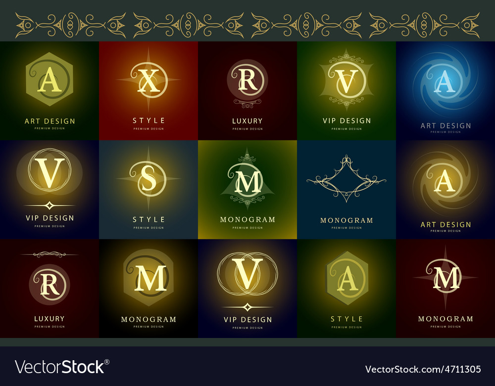 Monogram design elements graceful template vector | Price: 1 Credit (USD $1)