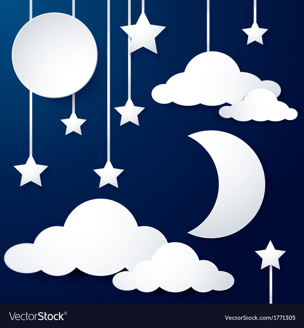 Moon and cloud paper vector | Price: 1 Credit (USD $1)