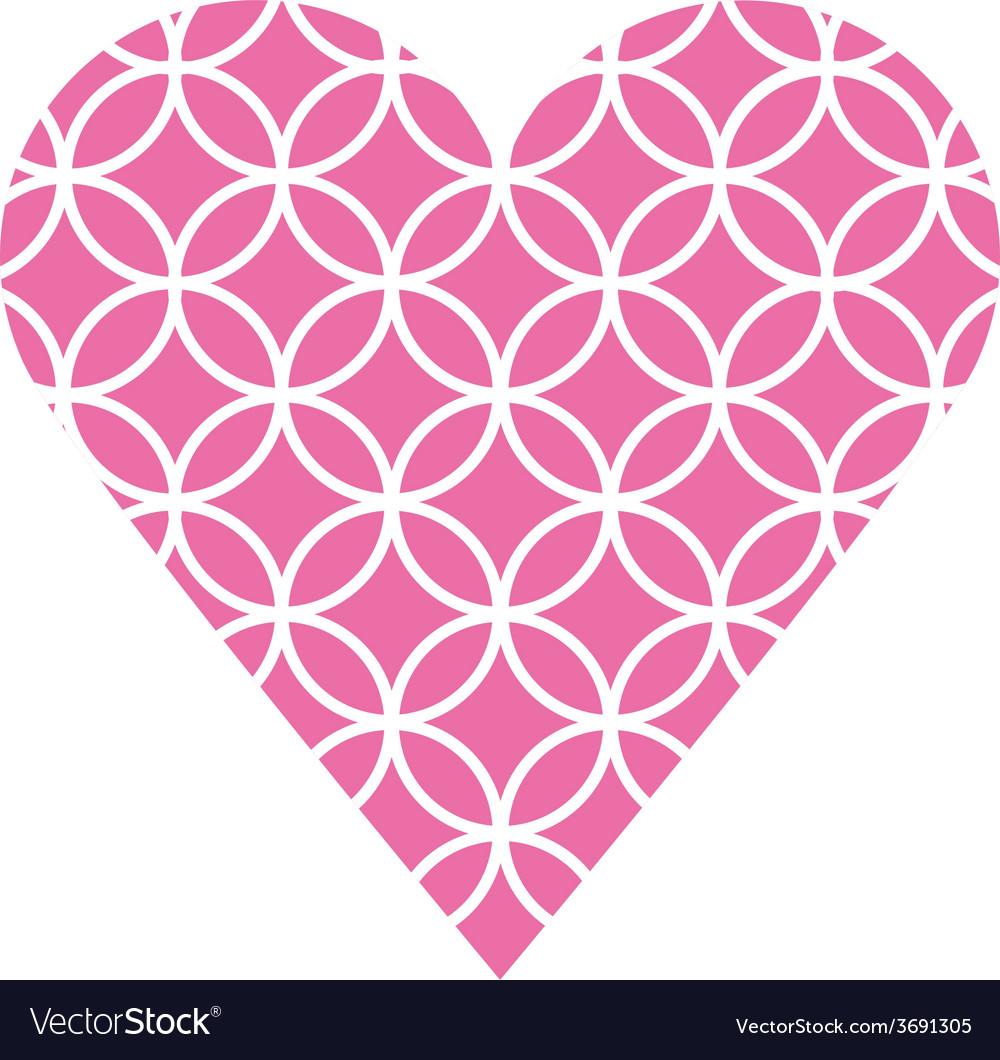 Pink fretwork circle heart vector | Price: 1 Credit (USD $1)