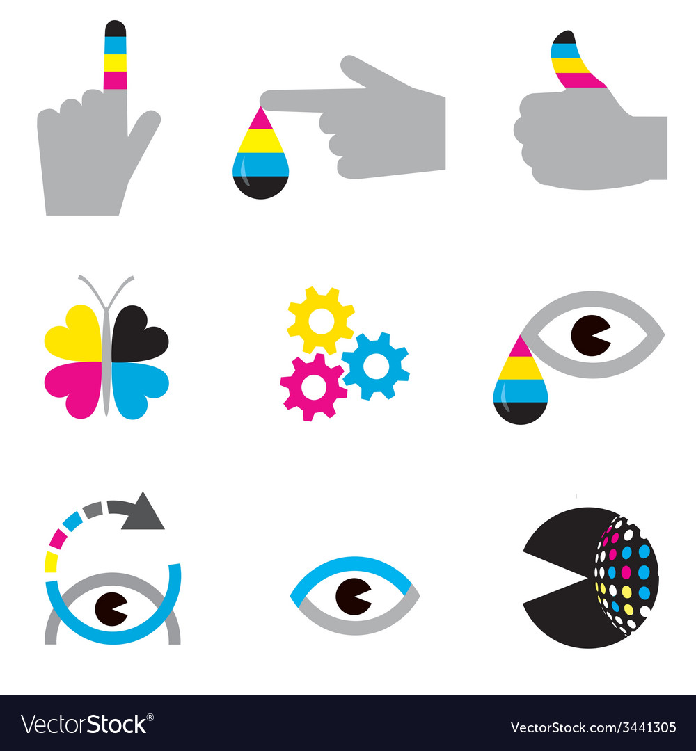 Print industry icons concepts vector | Price: 1 Credit (USD $1)