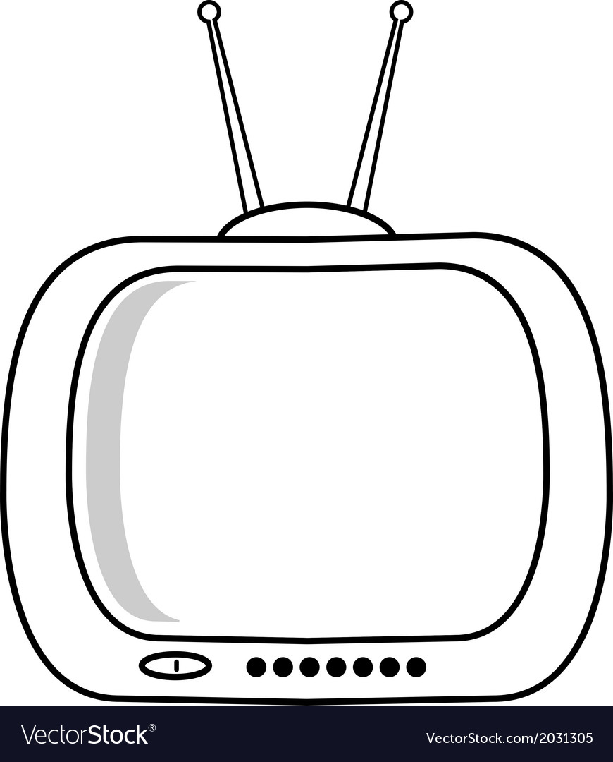 Retro tv isolated on white background vector | Price: 1 Credit (USD $1)