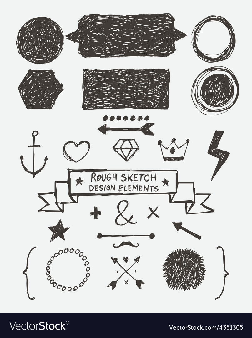 Rough sketch design elements vector | Price: 1 Credit (USD $1)