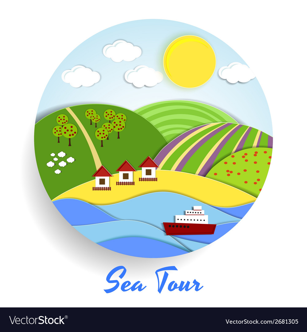 Sea tour eco emblem vector | Price: 1 Credit (USD $1)