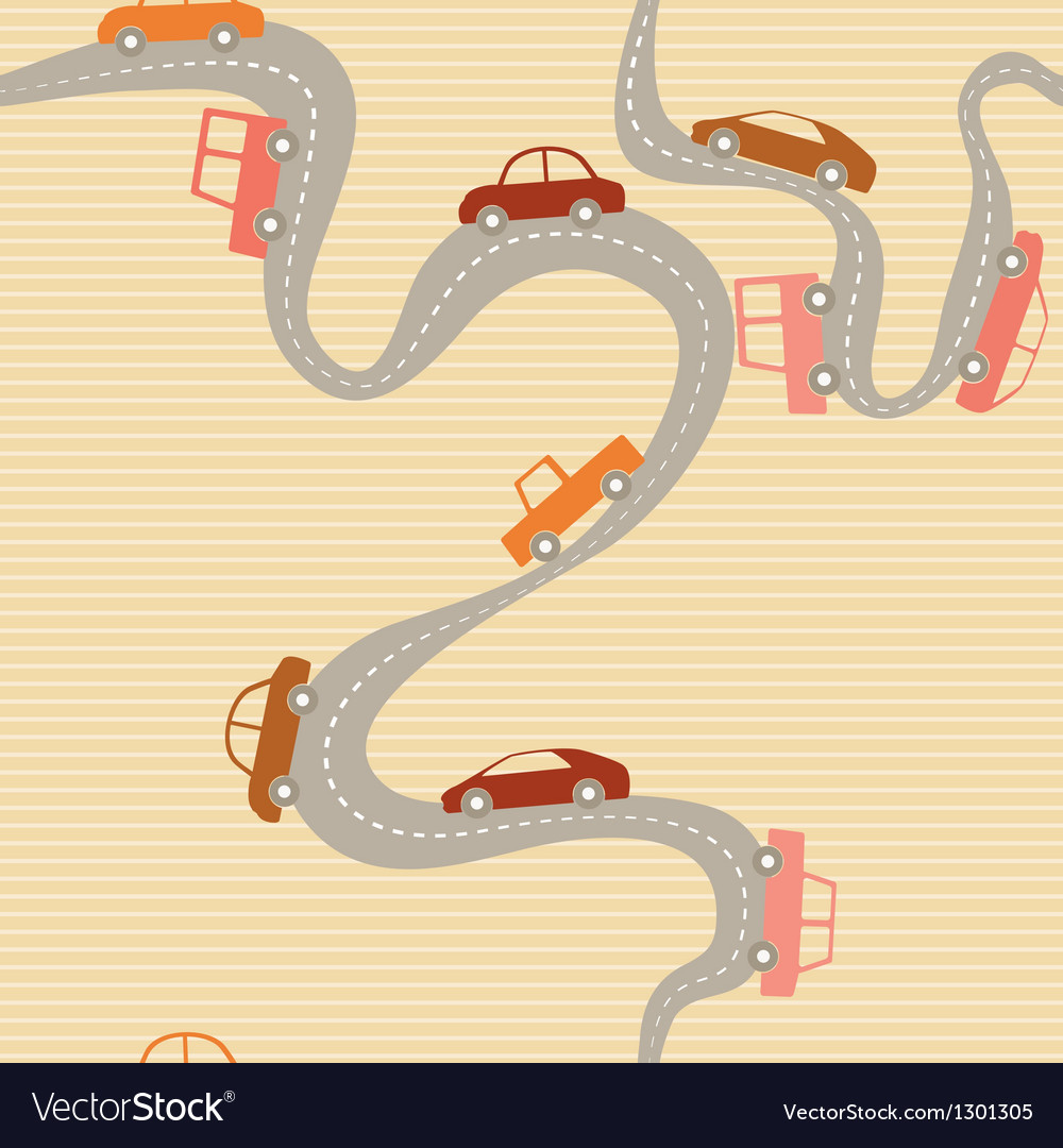 Seamless background with road and cars vector | Price: 1 Credit (USD $1)