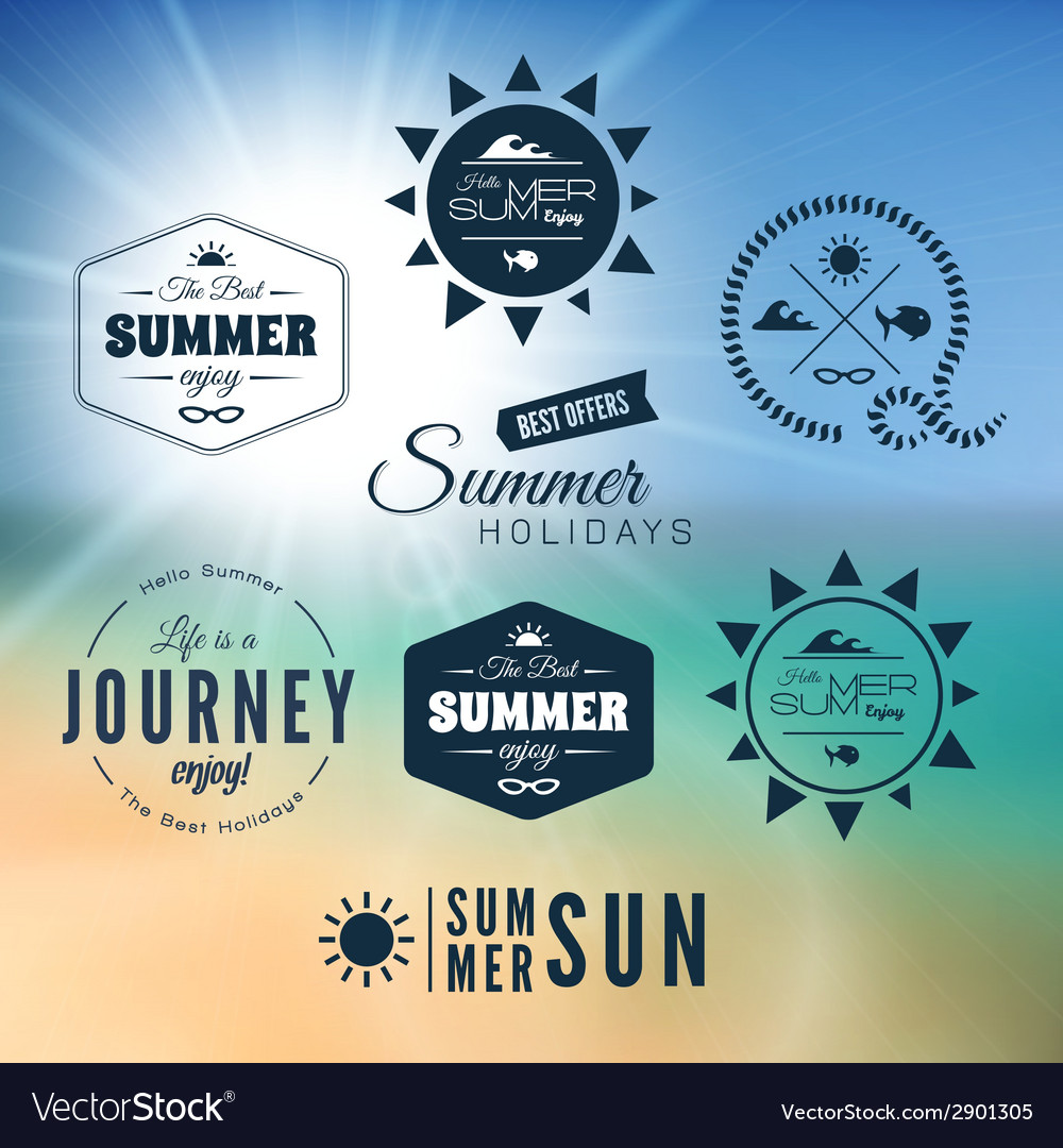 Vintage summer holidays typography design vector | Price: 1 Credit (USD $1)