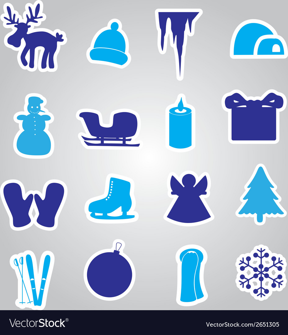 Winter and xmas icon stickers eps10 vector | Price: 1 Credit (USD $1)