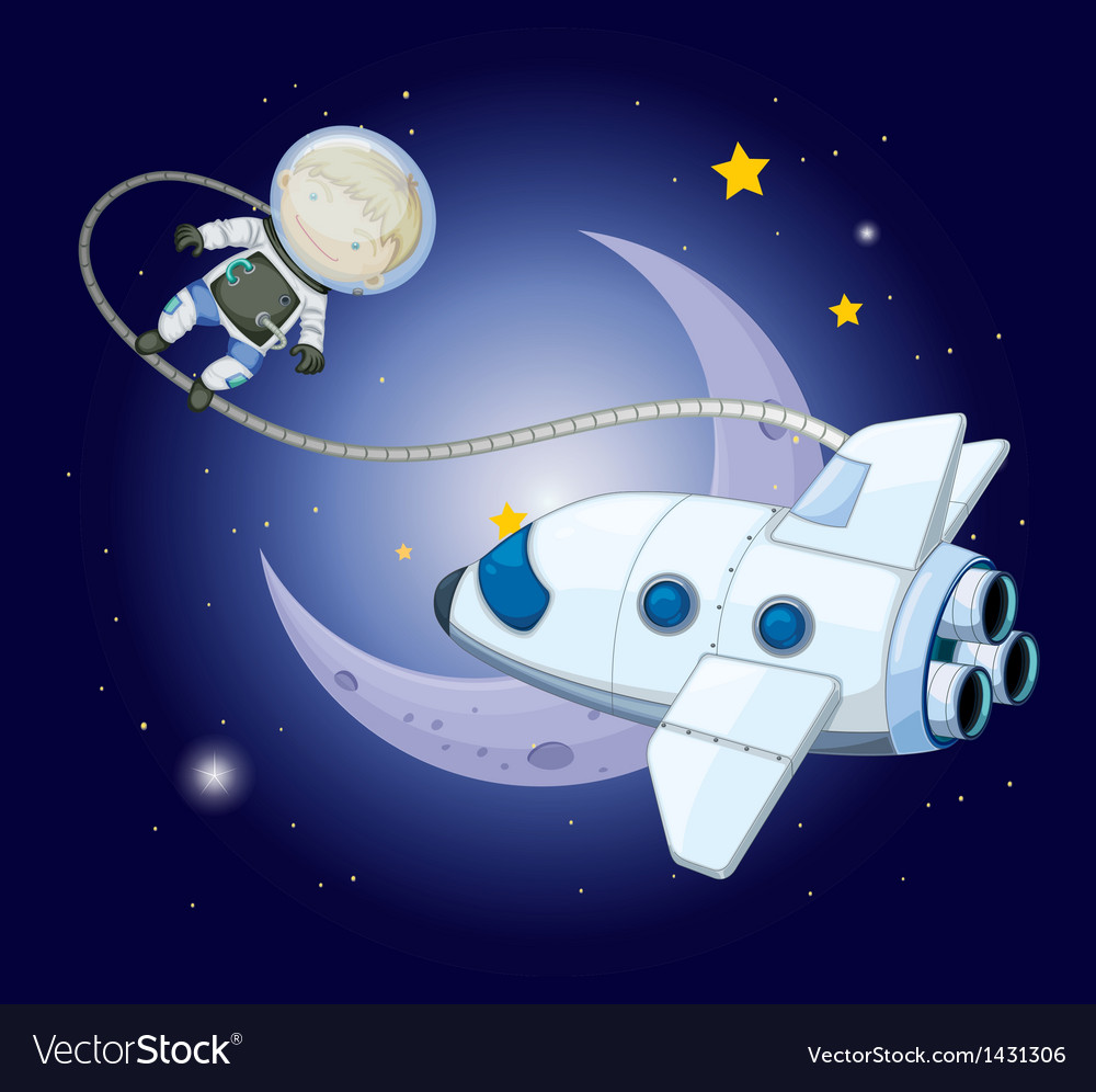 A young explorer near the moon vector | Price: 1 Credit (USD $1)
