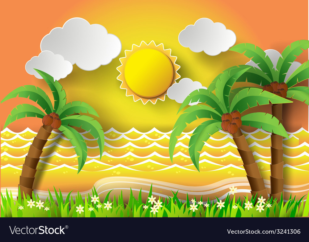 Coconut trees on the beach with sunset vector | Price: 3 Credit (USD $3)