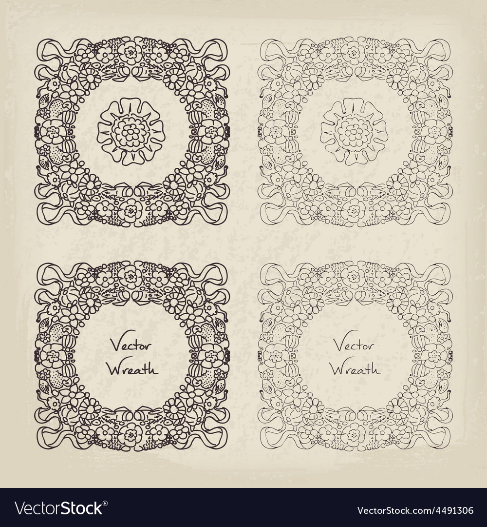 Doodle retro floral wreath set vector   Price: 1 Credit (USD $1)