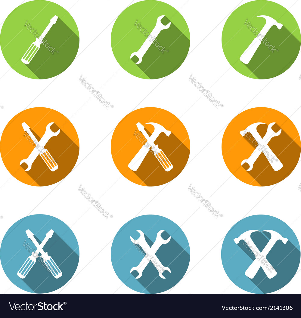 Flat tools icons vector | Price: 1 Credit (USD $1)