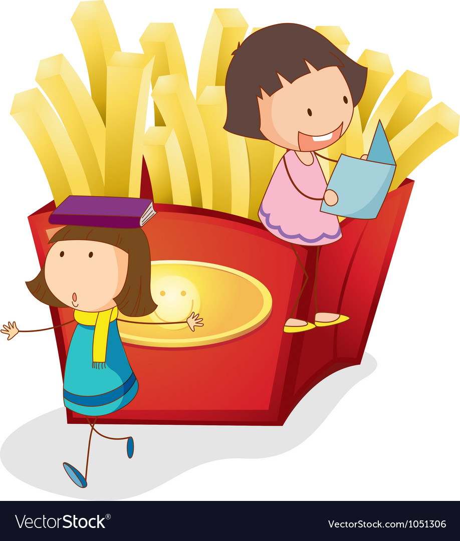 French fries kids background vector | Price: 1 Credit (USD $1)