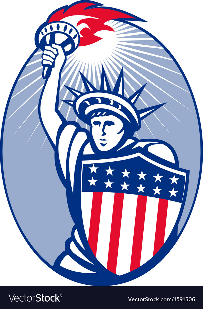 Statue of liberty with torch and shield vector | Price: 1 Credit (USD $1)