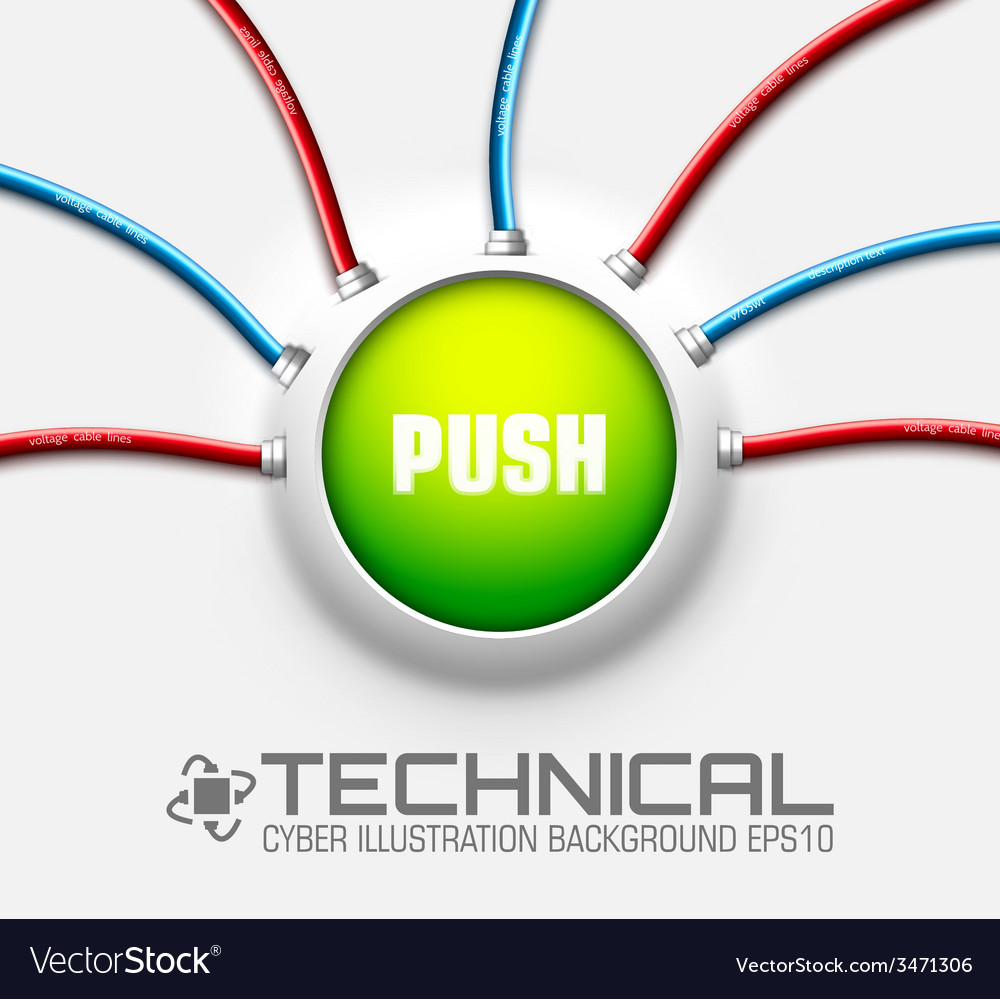 Technical button push with wire background vector | Price: 1 Credit (USD $1)