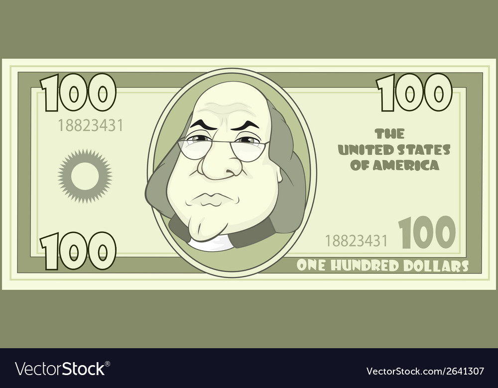 100 cartoon american dollar vector | Price: 1 Credit (USD $1)