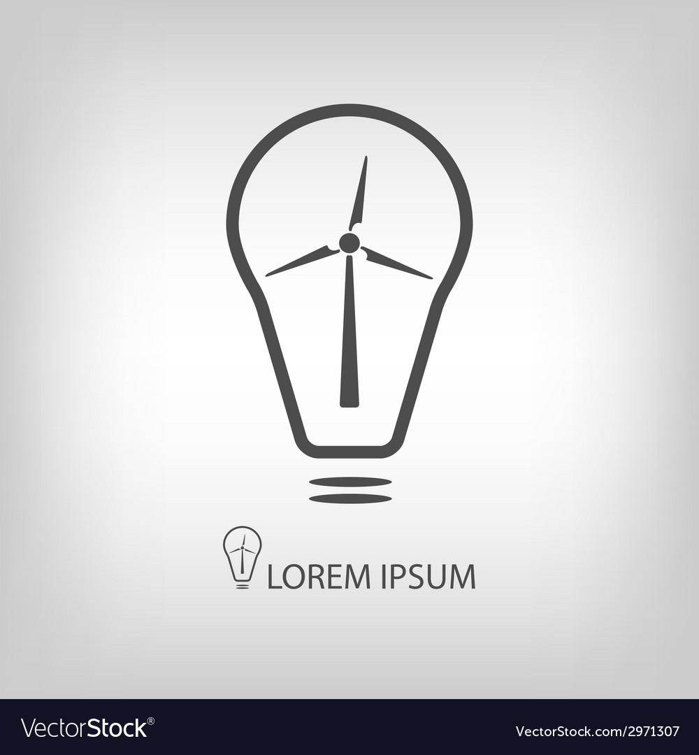 Bulb with wind turbine as eco energy symbol vector | Price: 1 Credit (USD $1)