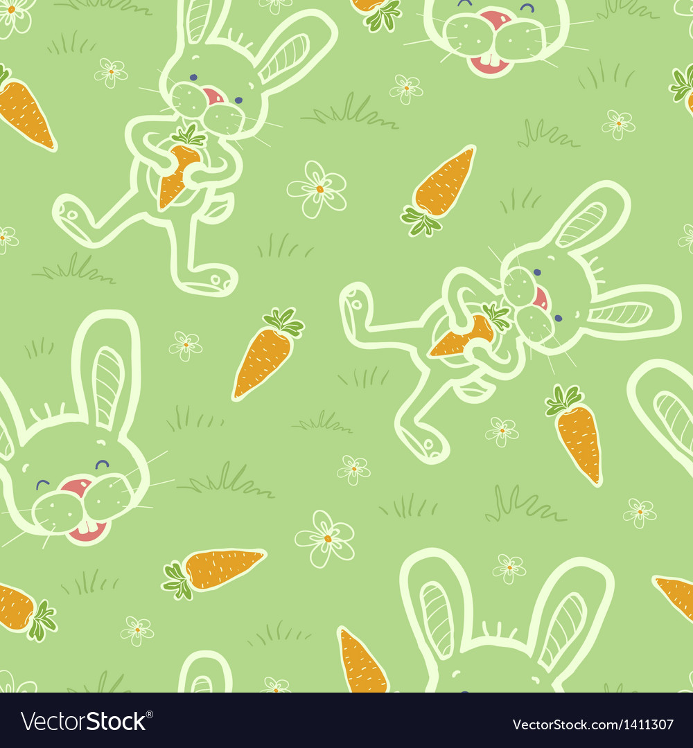 Bunnies eating carrots seamless pattern background vector | Price: 1 Credit (USD $1)