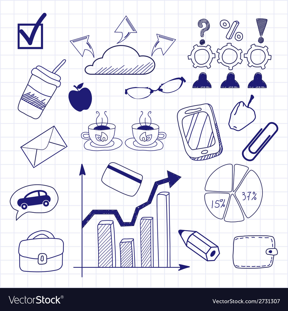 Business doodles seamless pattern background vector | Price: 1 Credit (USD $1)