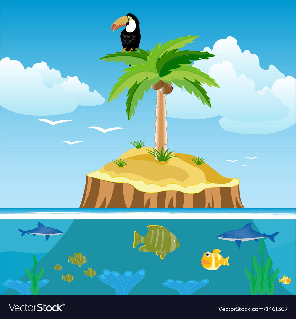 Desert island and undersea world vector | Price: 1 Credit (USD $1)