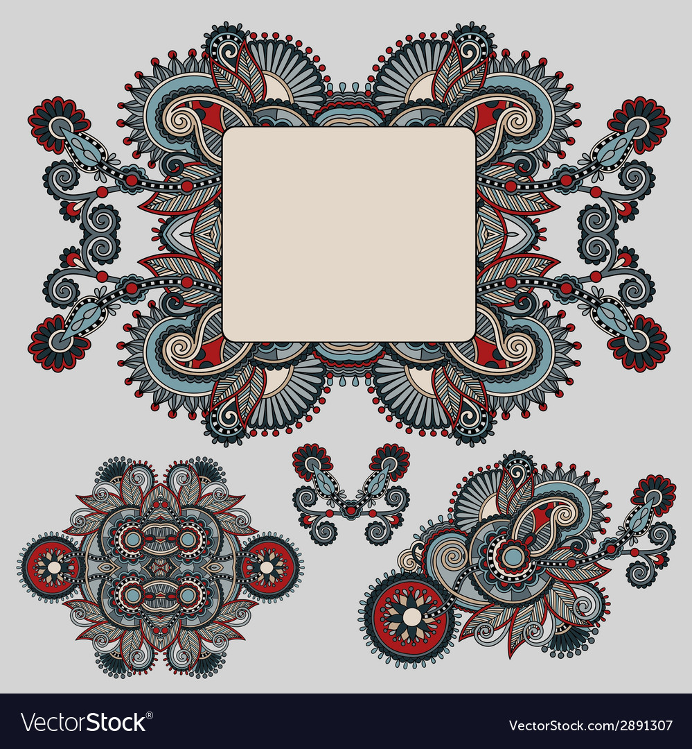 Ethnic ornamental floral adornment and frame vector   Price: 1 Credit (USD $1)