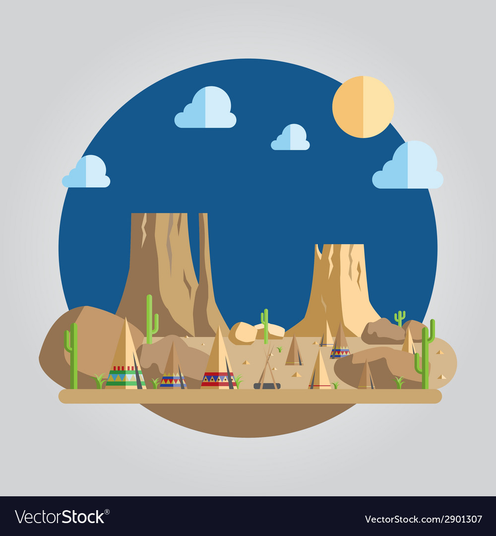 Flat design western desert vector | Price: 1 Credit (USD $1)