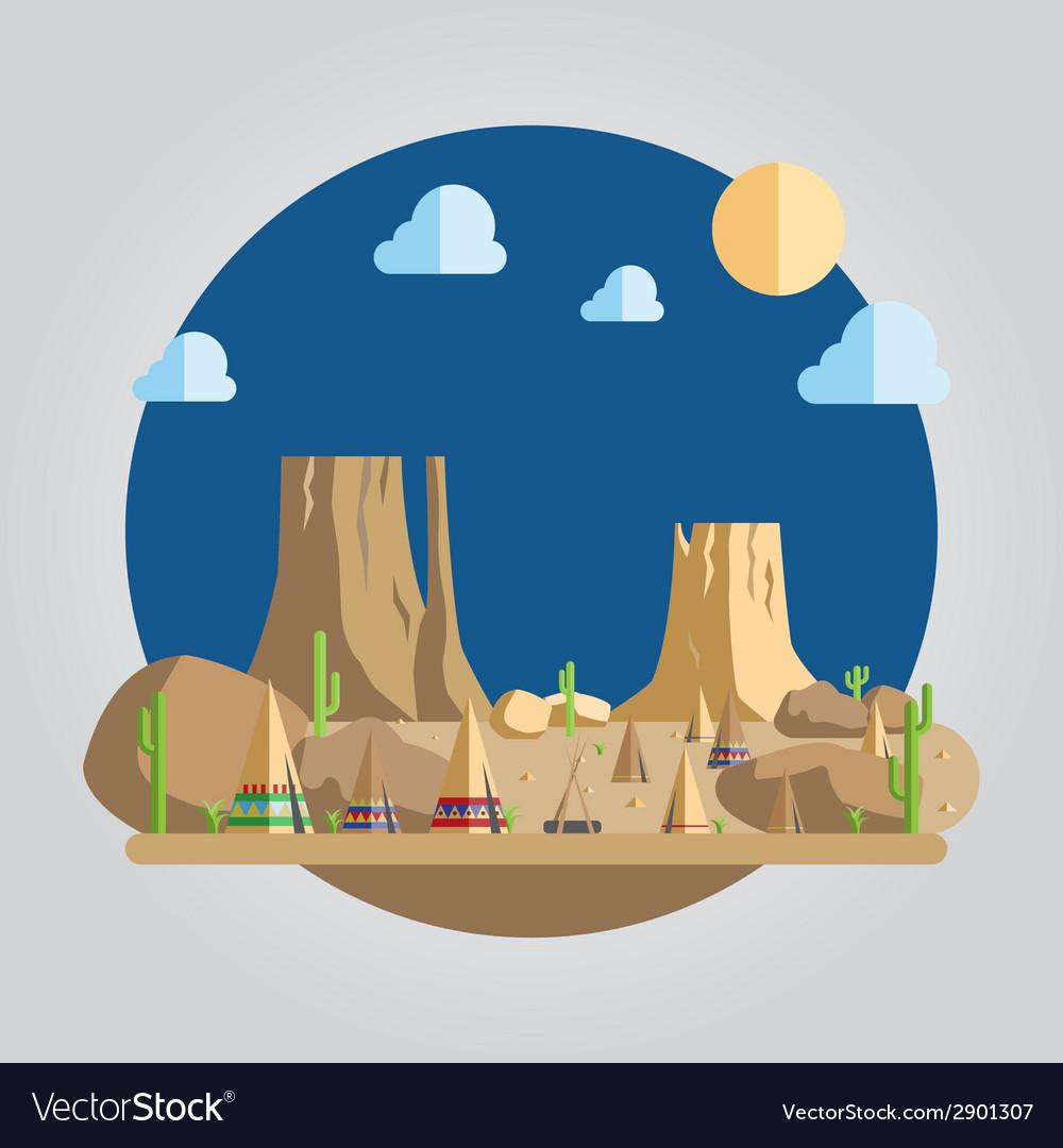 Flat design western desert vector | Price: 1 Credit (USD $1)